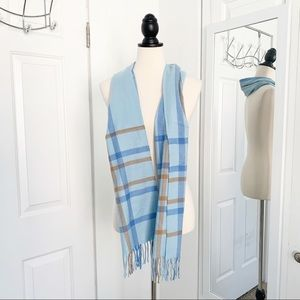Accessories - NWOT Italy Design Cashmere Blend Blue Plaid Scarf